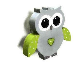 OWL drawer knob, cupboard knob, furniture, colors gray and Apple green