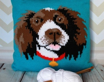 Knitting Pattern PDF Download - Springer Spaniel Pet Portrait Pillow Cushion Cover