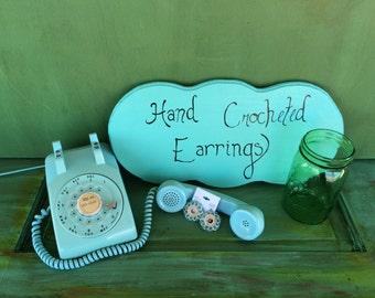 Crochet Earrings - blue and ecru handmade jewelry