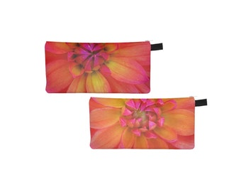 Orange Yellow Pouch Printed Pencil Case Coin Purse Zipper Small Makeup Bag Cosmetic Bag Gift for Her Stocking Stuffer Jewelry Nature Flower