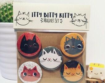 Cat Magnets, Cat buttons, Cat Pins, Fridge Magnet, Party Favors