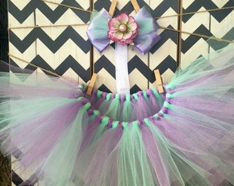 Mint green and lilac baby 0-6 months tutu with matching hairbow and headband