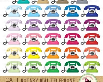 Rotary Dail Telephone Clipart - Instant Download