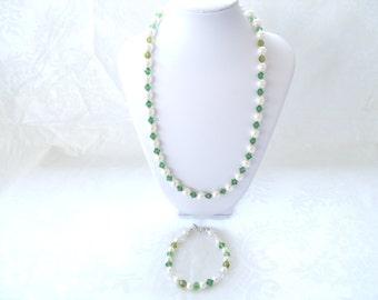 Swarovski® Pearls & Green Crystals Necklace-White Pearls-Swarovski® Crystals-Pearl Necklace-Gift of Distinction-Swarovski® Set-Wedding