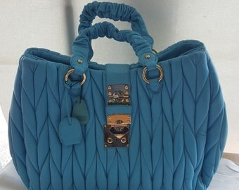 Braided quilted leather bag Color Turquoise bag leathear great