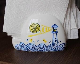 hand painted napkin holder (porcelain)