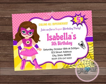 Superhero Spider Girl Party Invitation, Pink Spider Girl Invitation, Pink Spider Girl Birthday Invitation, Superhero Invitation, Digital