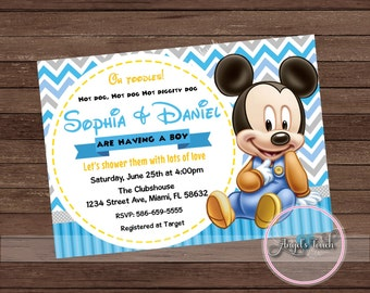 Mickey Mouse Baby Shower Invitation, Mickey Mouse Baby Shower, Baby Mickey  Mouse Invitation,