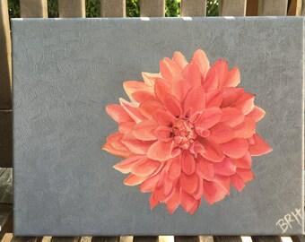 ORIGINAL Oil Painting - Pink Flower