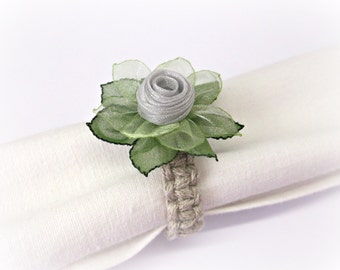 Grey and green Silk flower napkin rings Silver Wedding reception decor Floral napkin holder