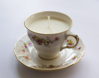 Unscented soy wax teacup candle