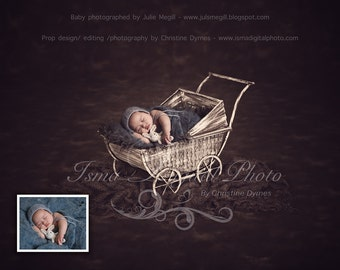 Digital background Newborn Photography Props download (Stroller With Dark Background )