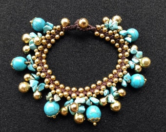 FREE Shipping, Boho bracelet, bead bracelet, stone bracelet, turquoise brass beads bracelet with brass bells, wax cord bracelet,