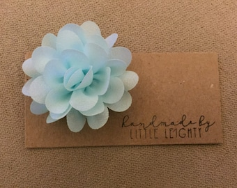 Light blue floral hair clip - 2in.