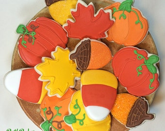 Fall, Thanksgiving, Halloween Custom Decorated Sugar Cookies One Dozen