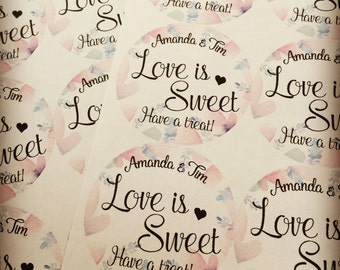 Wedding Favors, Love is Sweet, Wedding Favor Stickers, Custom Stickers, Love is Sweet Stickers, Wedding Stickers,