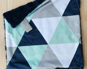 Navy & Mint Triangle Lovey, Minky Lovey, Faux Fur Lovey, Boy Lovey, Triangle Lovey, Navy Lovey