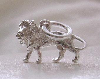 Genuine SOLID 925 STERLING SILVER 3D Leo Zodiac King Lion charm/pendant