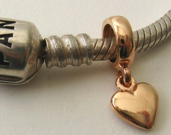 Genuine SOLID 9K 9ct Rose GOLD Charm Solid Love Heart Drop Bead