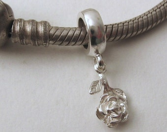 Genuine SOLID 925 STERLING SILVER Charm Bead with Solid Silver Rose drop