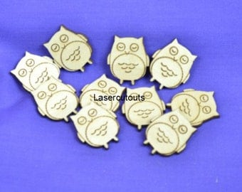 Laser cut owl, MDF, 3mm thick, ready to decorate, ideal for crafters, woodland - various sizes available