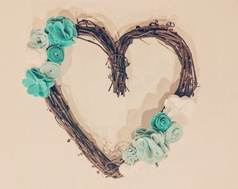 Felt Flower Heart Shaped Grapevine Wreath in Turquoise