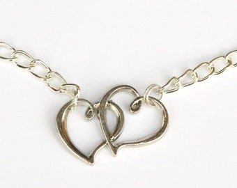 Heart necklace - twin hearts - two hearts - silver necklace