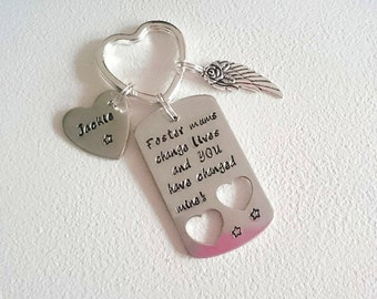 Foster Mum Hand Stamped Keyring Keychain Foster Mum Mother's Day Gift