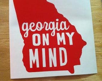 Georgia on my Mind decal; georgia decal