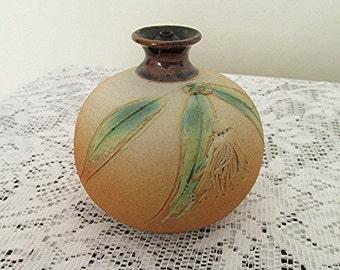 Pottery oil lamp Australian signed Sandi Hodges handmade gum nut gum flower design vintage 70s.