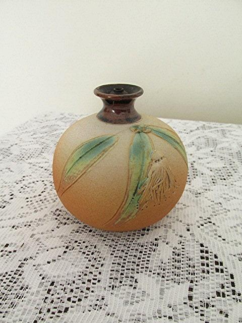 Handmade Ceramic Oil Lamps : Pottery oil lamp australian signed sandi hodges handmade gum