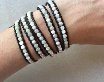 Pearlescent White Beaded Wrap Bracelet