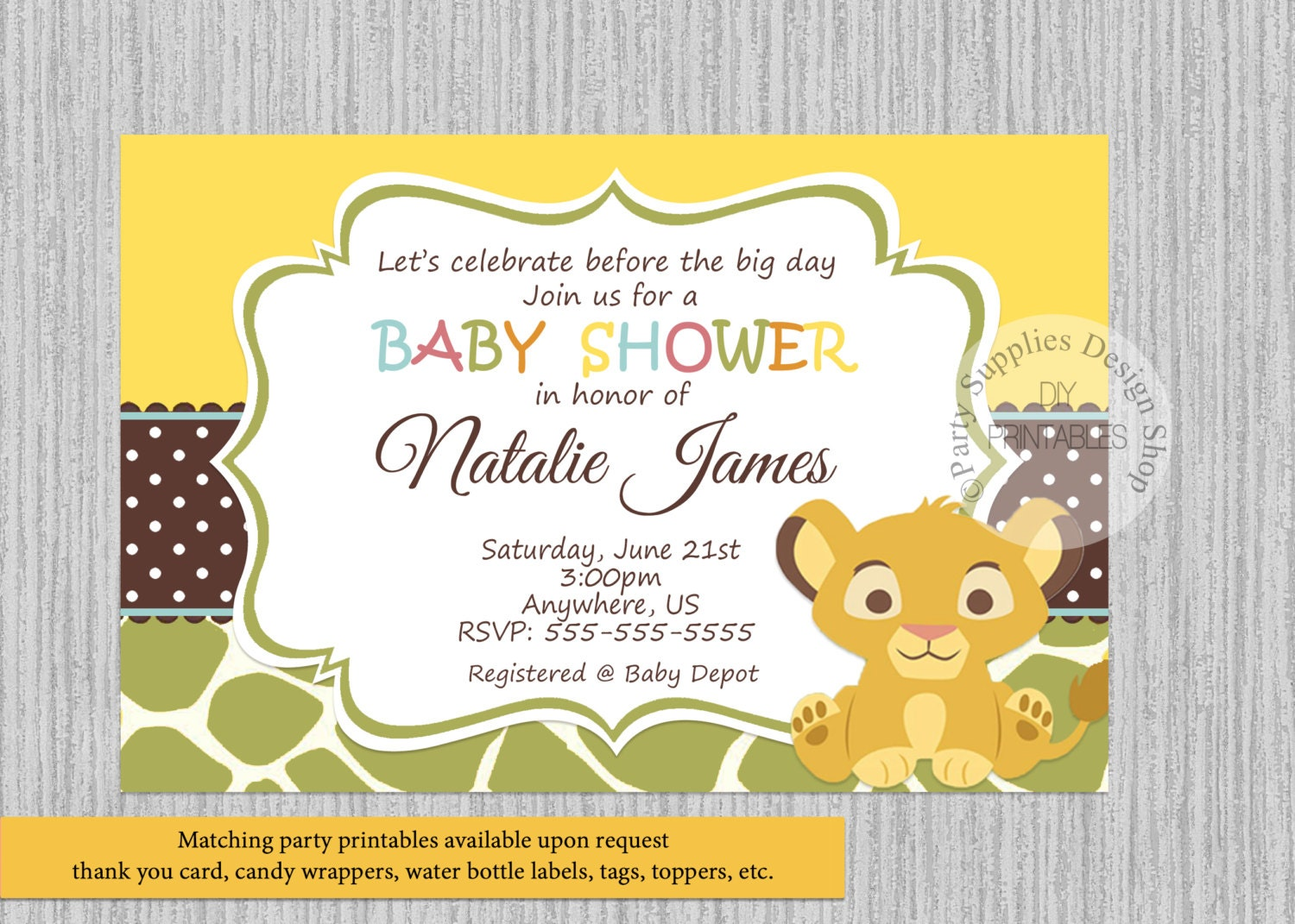 PRINTED or Digital Baby Simba Lion King Baby Shower