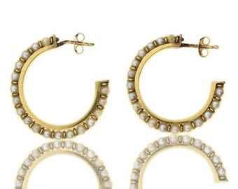 Gold Hoops 19.2k with 36 Pearls