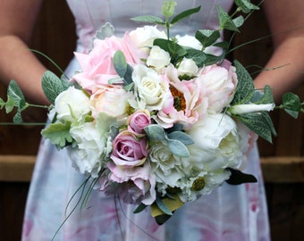 Blush pink and Ivory bridal wedding bouquet, roses / peonies / eucalyptus / silk / keepsake bouquet