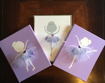Hand painted Set of 3 Dancing Ballerinas Wall art in lavender, purple, grey and white, Handmade and Custom canvas for nursery or girls room