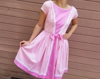 50s/60s Adorable Pink Cotton Dress