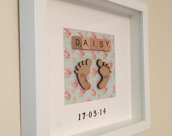 Handmade personalised 3D baby feet frame