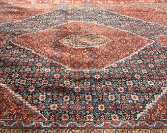 "Antique Persian Rug Circa 1950s Hand-Knotted Tabriz (Red, Blue, Terracotta) 406cm x 275cm (13'3"" x 9'0"")"