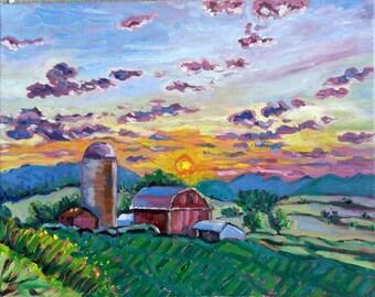 "Original Oil Painting, Sunset at Farm, 16""x20"", 1610074"