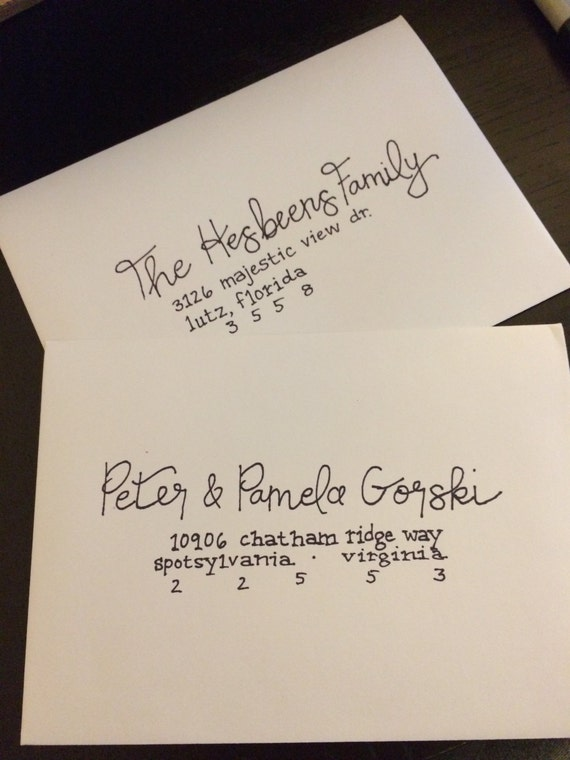 Handwritten wedding calligraphy invitations by