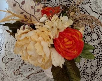 Orange and Oatmeal natural color fall bouquet with feathers