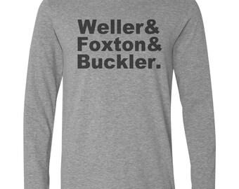 Long Sleeve Grey T-Shirt with WELLER FOXTON BUCKLER Design - the jam mod paul weller bruce foxton rick Buckler gray