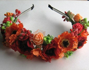Orange floral crown Flower headband Hair Vine Bridal headband Flower crown Flower wreath Hair band Headwear Festival Garland Wedding circlet