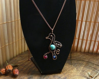 Bird Pendant made of copper in the Wire-wrap style