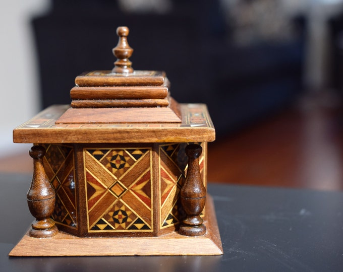Wooden Home Decor, Trinket box, Storage box, Mosaic Art, Syrian Art, keepsake box, Jewelry box, Wooden box, small jewelry box, organization