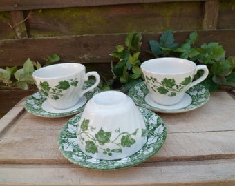 2 English fine China tea and sugar, cups, saucers, pattern maple leaf, bicolour, cream and green