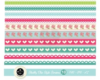 Sweet Color Shabby Chic Boarders,shabby chic clipart,Washi Tape,digital download