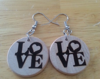 "Wood 1"" Round shape LOVE Heart earrings, surgical steel fish hook, essential oil diffuser"