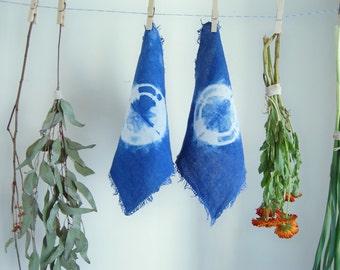 Linen Frayed Edge Napkins - Set of 2 - Hand Dyed with Indigo